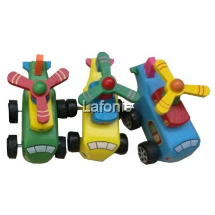 Wooden Mini Toys Pull Back Helicopter (10*5.5*7.5cm)