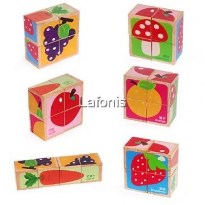 Wooden Puzzle Cube Fruit& vegetables section(14.6*14.6*5.7cm)